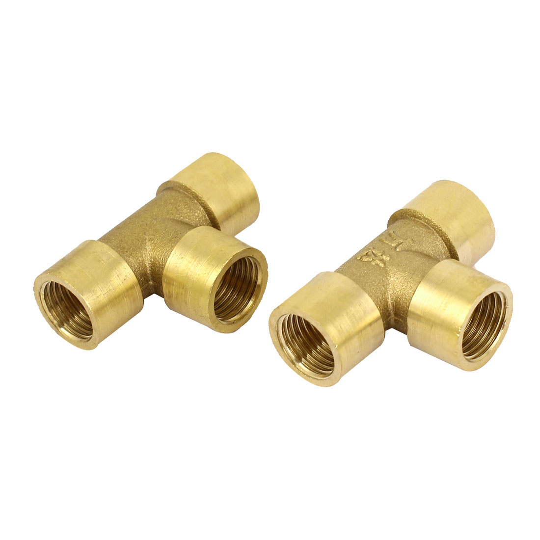 Gold Tone Air Pneumatic 13mm to 13mm Brass T-Shaped Barb Fitting Connector 2pcs