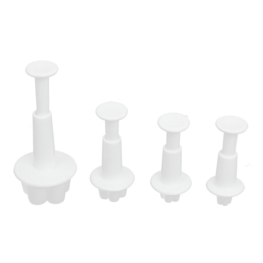 4Pcs Flower Shape Fondant Cake Decorating Mold Sugarcraft Plunger Cutter Tools