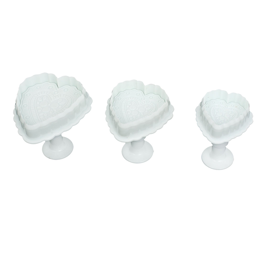 3Pcs Heart Shape Fondant Cake Decorating Mold Mould Sugarcraft Plunger Cutter Tools