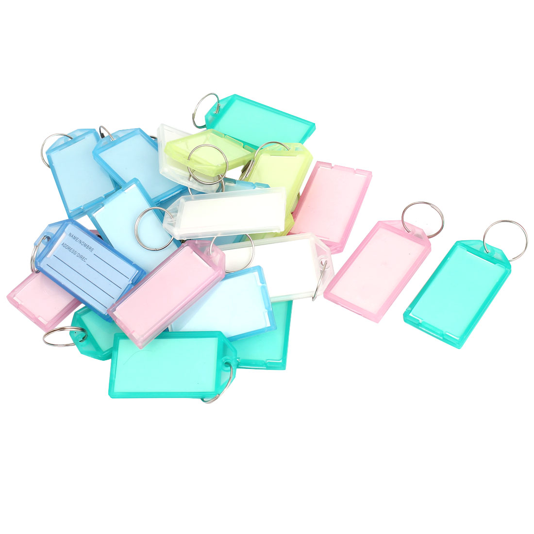 24pcs Assorted Color Plastic Luggage Key ID Name Label Tags w Keyring Split Ring