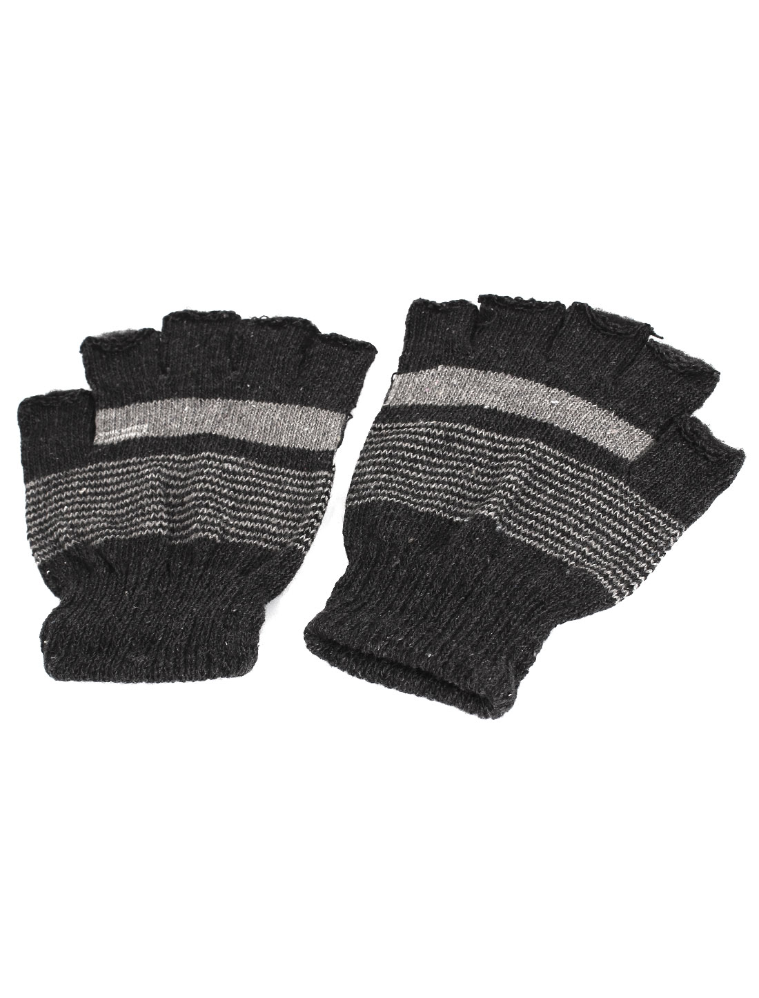Man Dark Gray Stripe Prints Knitting Stretch Palm Fingerless Gloves Pair