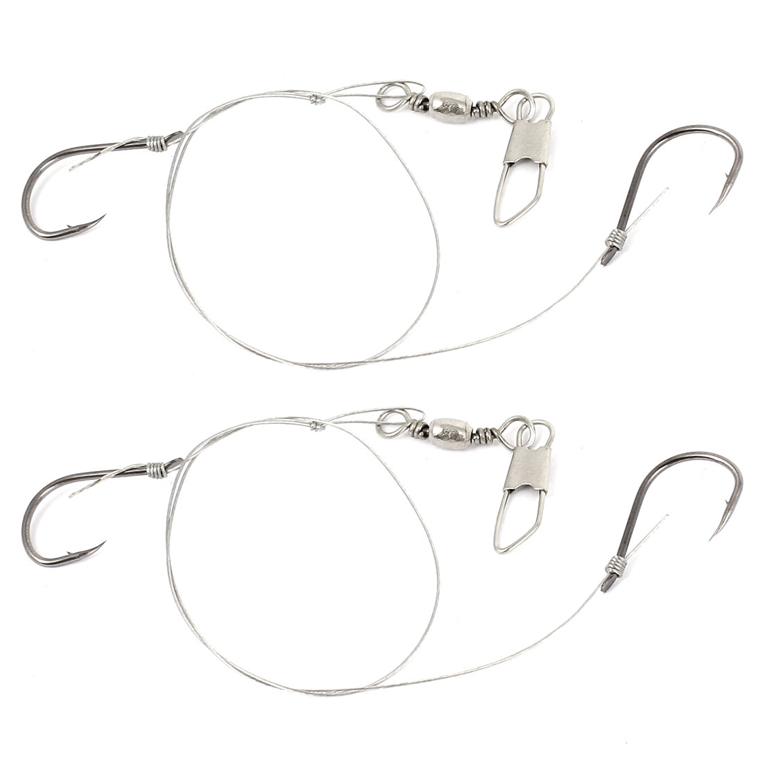 2 Pcs 2 in 1 Gray Bard Fish Hooks Fishhooks 11# w Interlock Clip