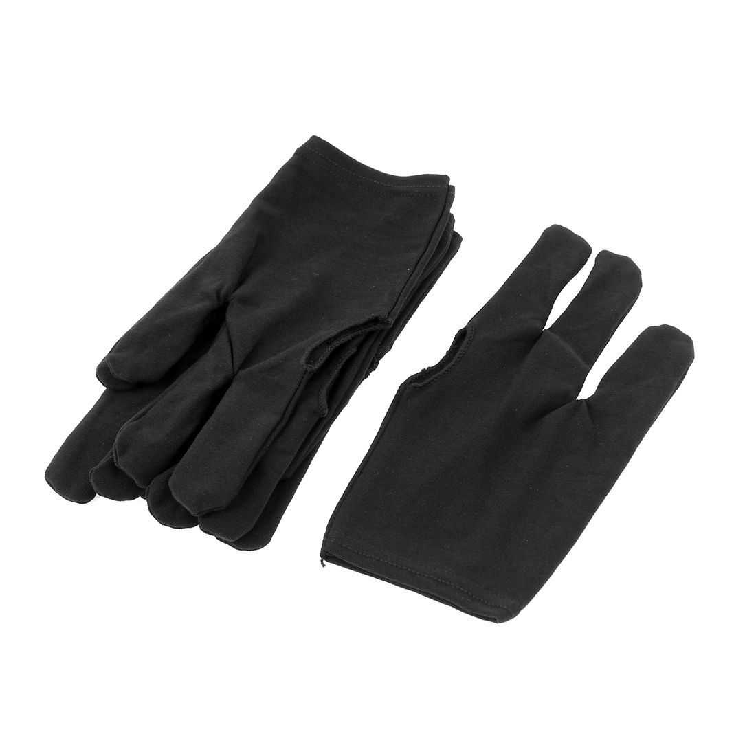 Black Elastic Snooker Billiard Pool Cue Three Finger Gloves 3 Pairs