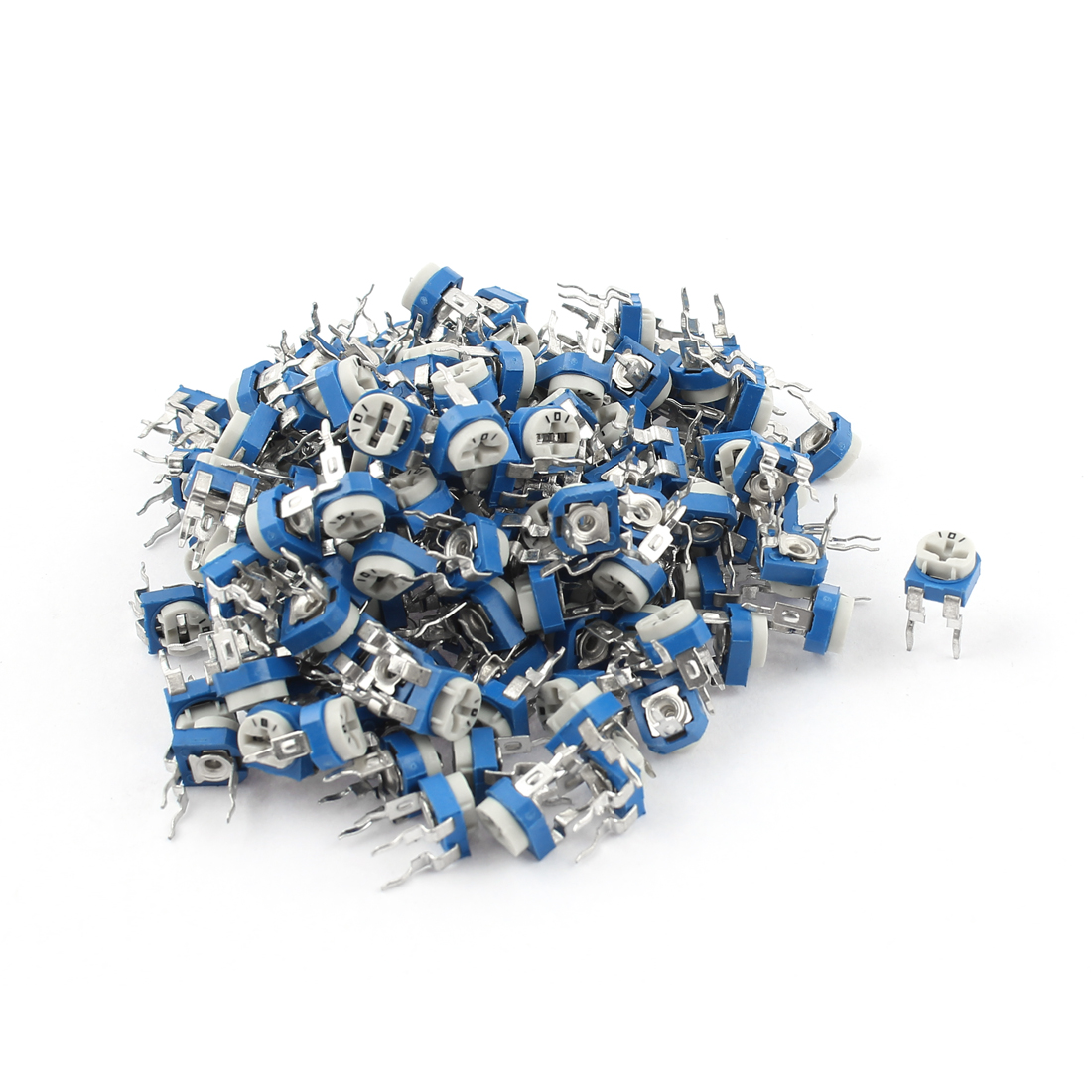 150Pcs 100 ohm Vertical PCB Preset Variable Resistor Trimmer Potentiometer Blue
