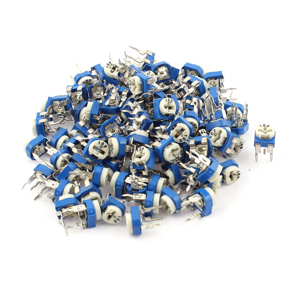 100Pcs 1K ohm Vertical PCB Preset Variable Resistor Trimmer Potentiometer Blue