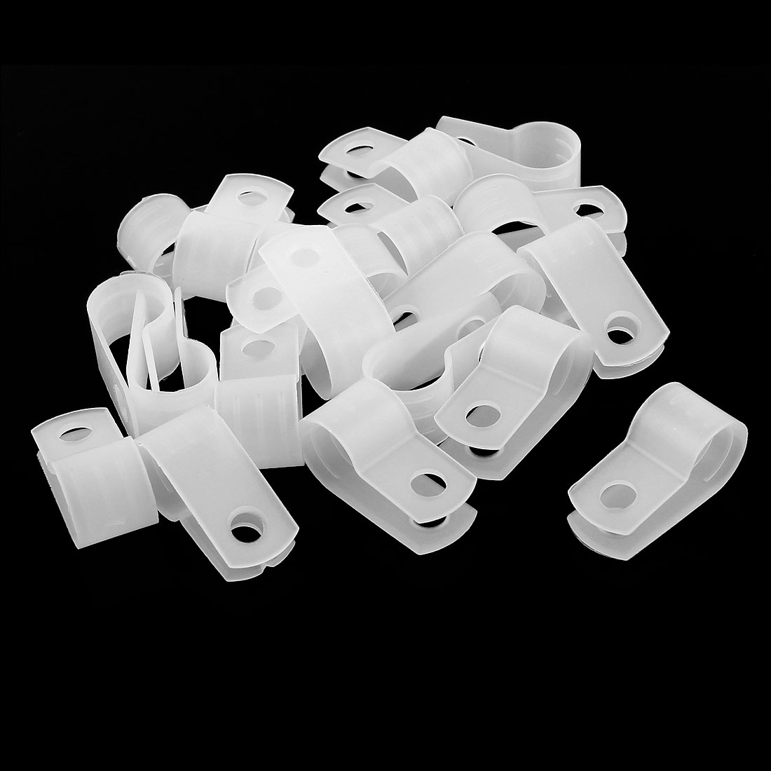 20Pcs White Plastic R Type Cable Clip Clamp for 8.4mm Dia Wire Hose Tube