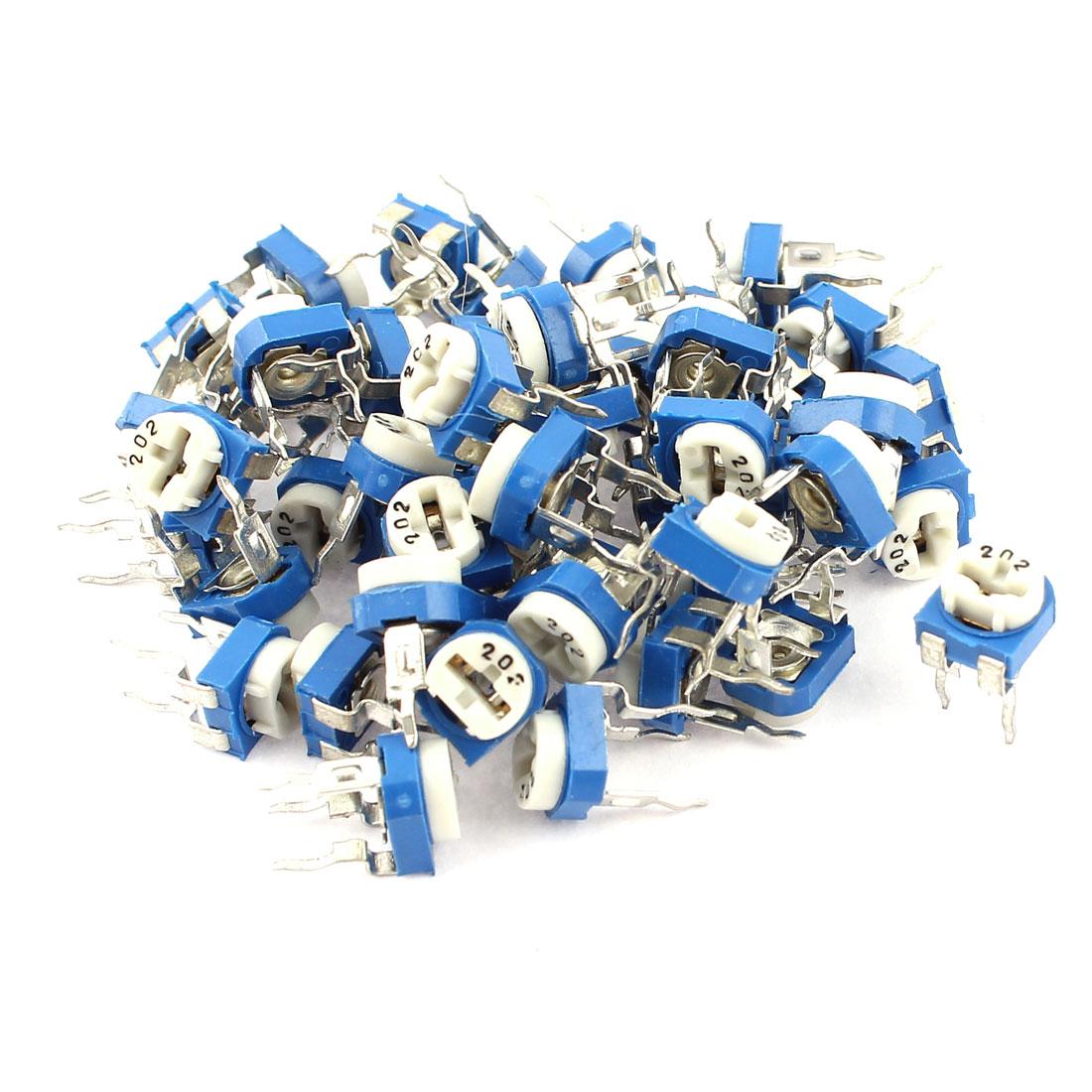 50Pcs 2K ohm Vertical PCB Preset Variable Resistor Trimmer Potentiometer Blue