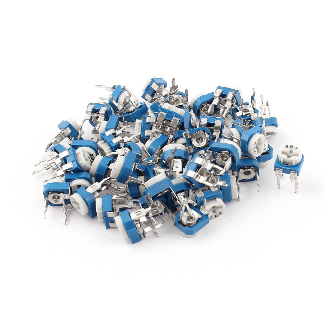 50Pcs 20K ohm Vertical PCB Preset Variable Resistor Trimmer Potentiometer Blue