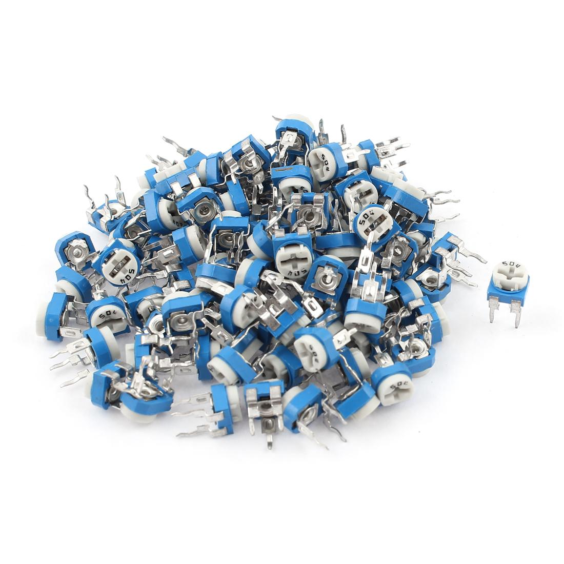 100Pcs 500K ohm Vertical PCB Preset Variable Resistor Trimmer Potentiometer Blue
