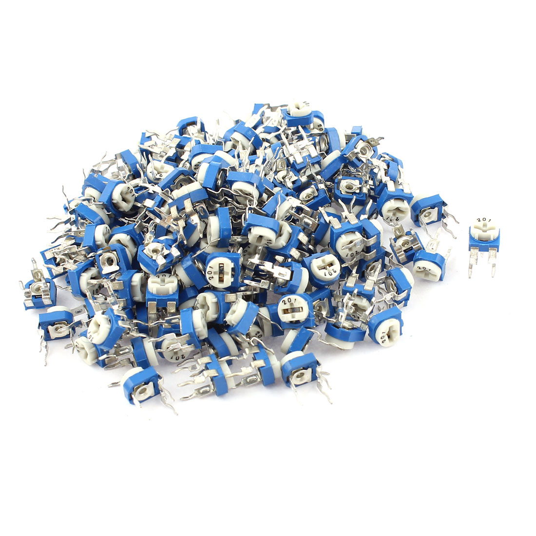 150Pcs 200 ohm Vertical PCB Preset Variable Resistor Trimmer Potentiometer Blue