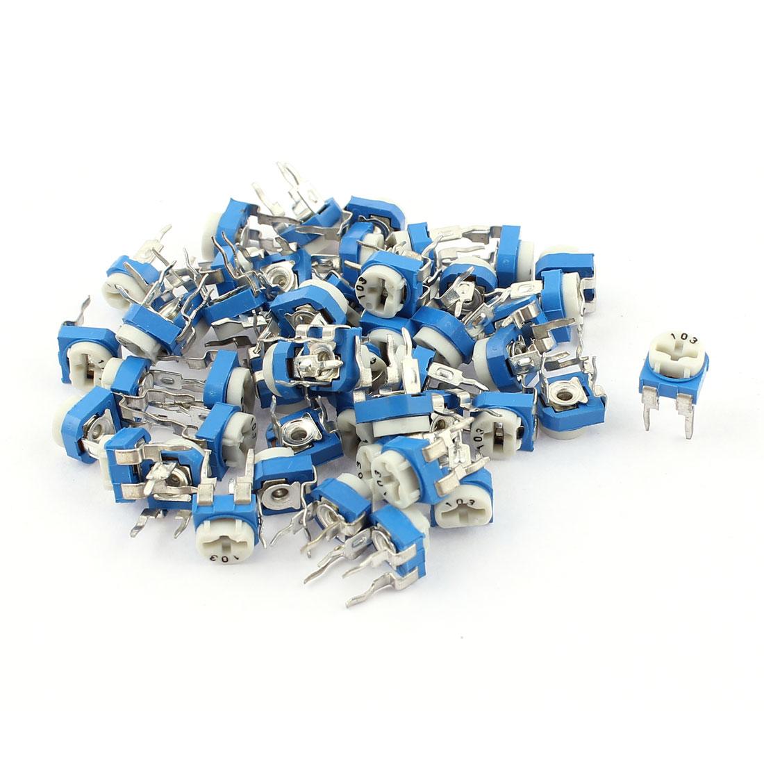 50Pcs 10K ohm Vertical PCB Preset Variable Resistor Trimmer Potentiometer Blue