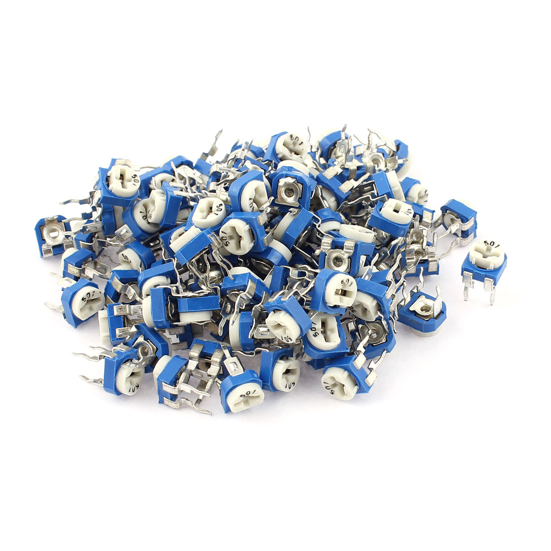 100Pcs 500 ohm Vertical PCB Preset Variable Resistor Trimmer Potentiometer Blue