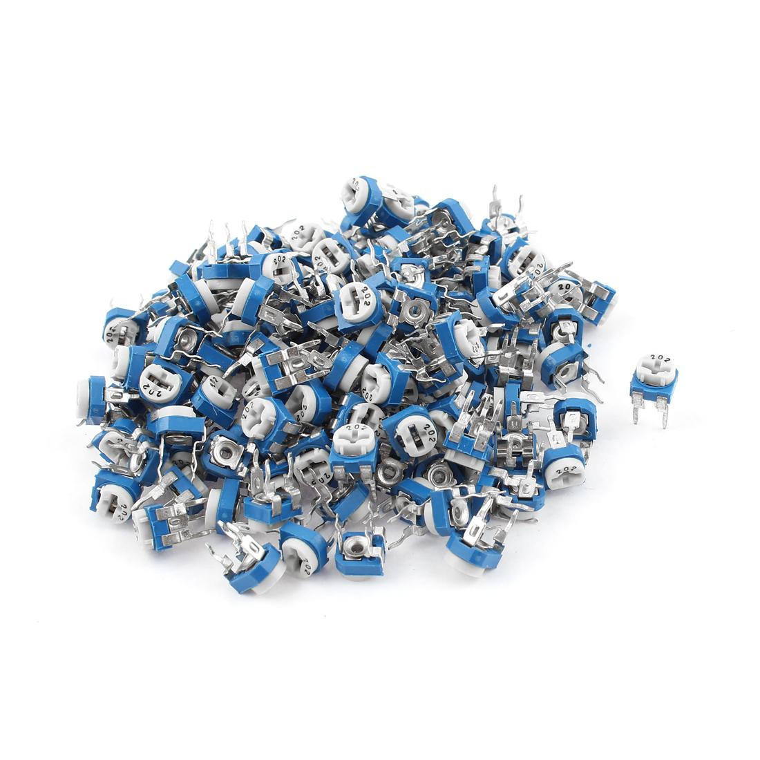 150Pcs 2K ohm Vertical PCB Preset Variable Resistor Trimmer Potentiometer Blue