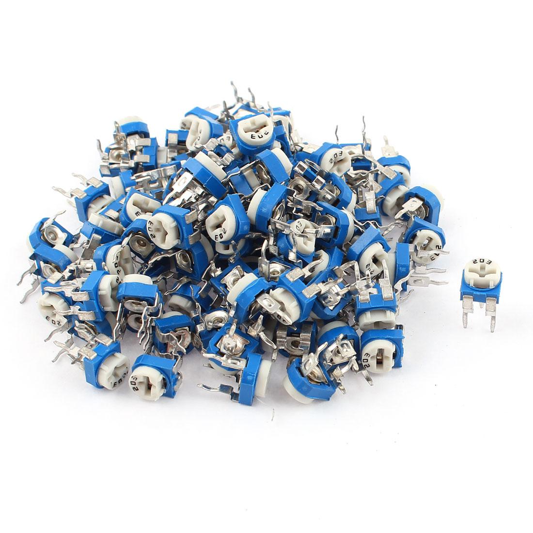 100Pcs 20K ohm Vertical PCB Preset Variable Resistor Trimmer Potentiometer Blue