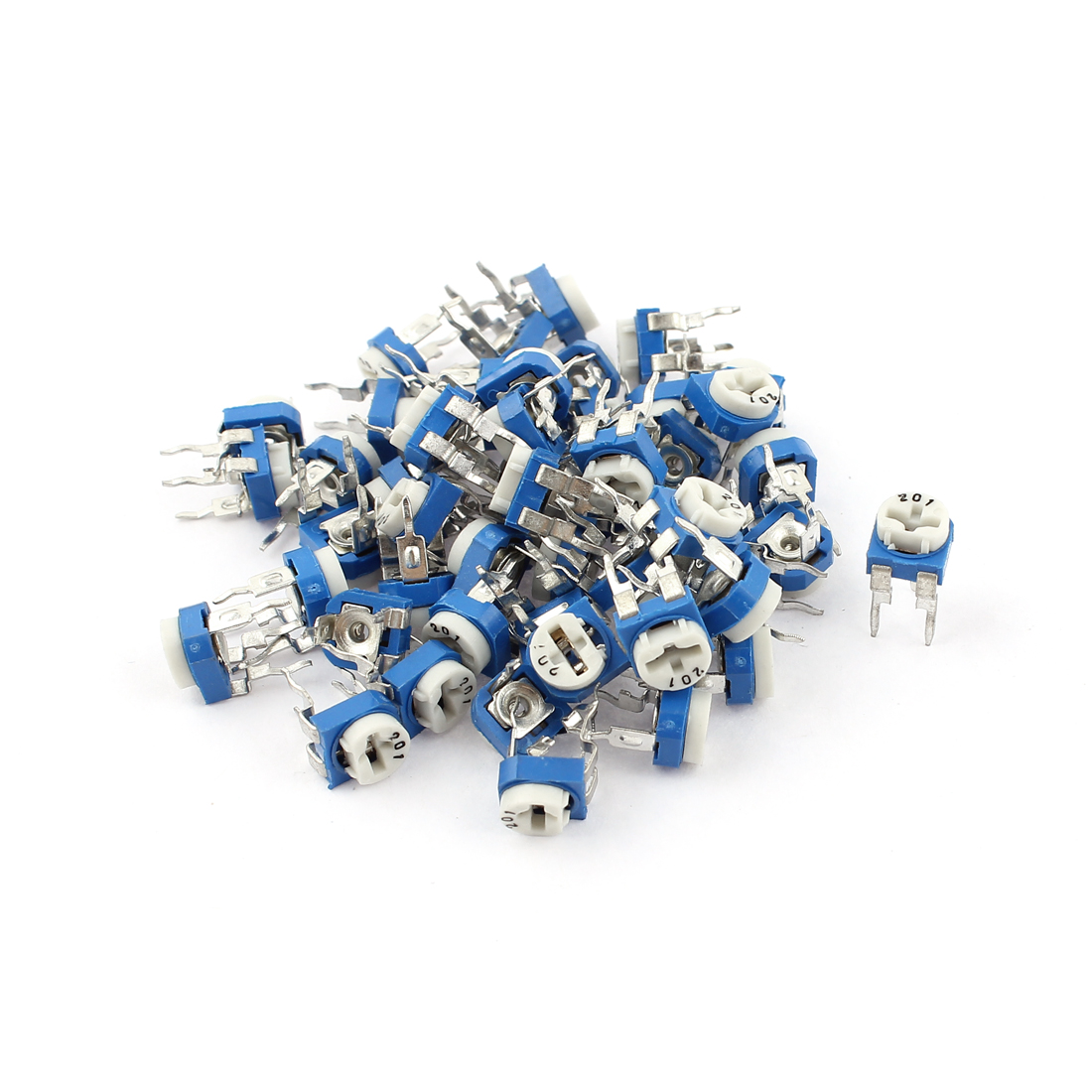 50Pcs 200 ohm Vertical PCB Preset Variable Resistor Trimmer Potentiometer Blue