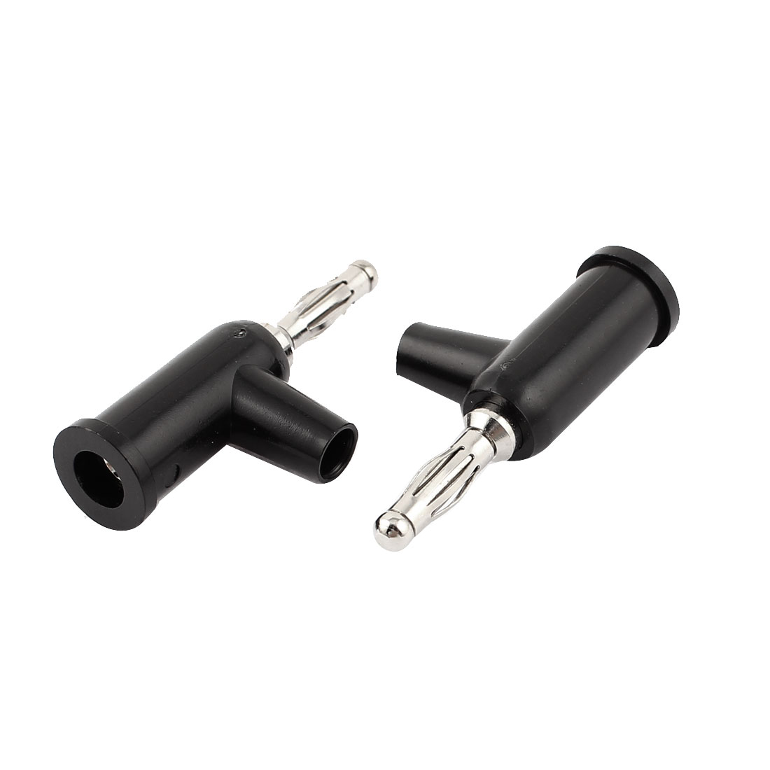 Audio Speaker Wire Cable T-Shape Banana Jack Socket Connector Black 2pcs
