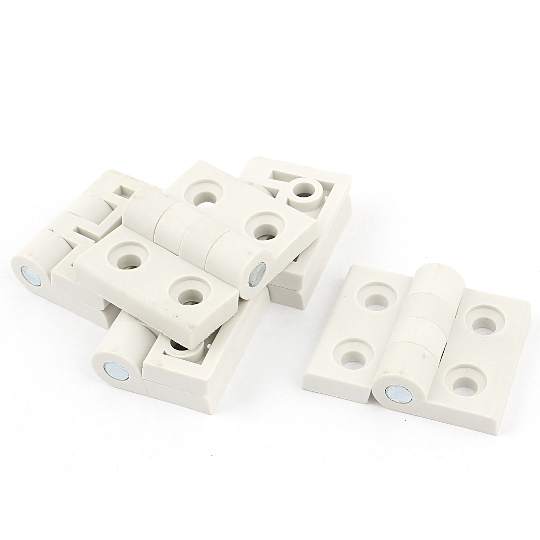 Cupboard Cabinet Door Plastic Ball Bearing Butt Hinge 46mm x 58mm 5Pcs White