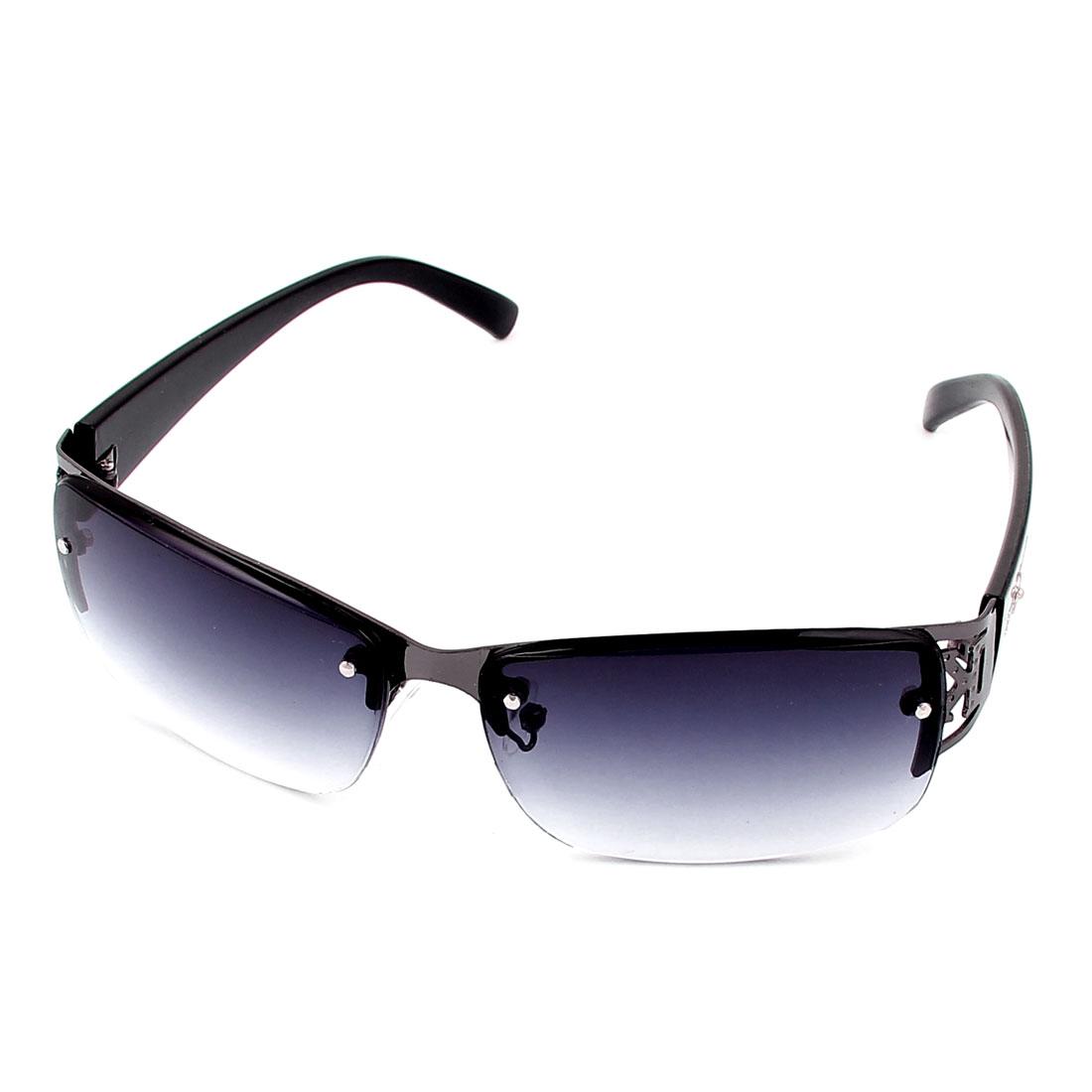 Unisex Half Rimless Sunglasses Glasses Eyewear Eyes Protecter Gray