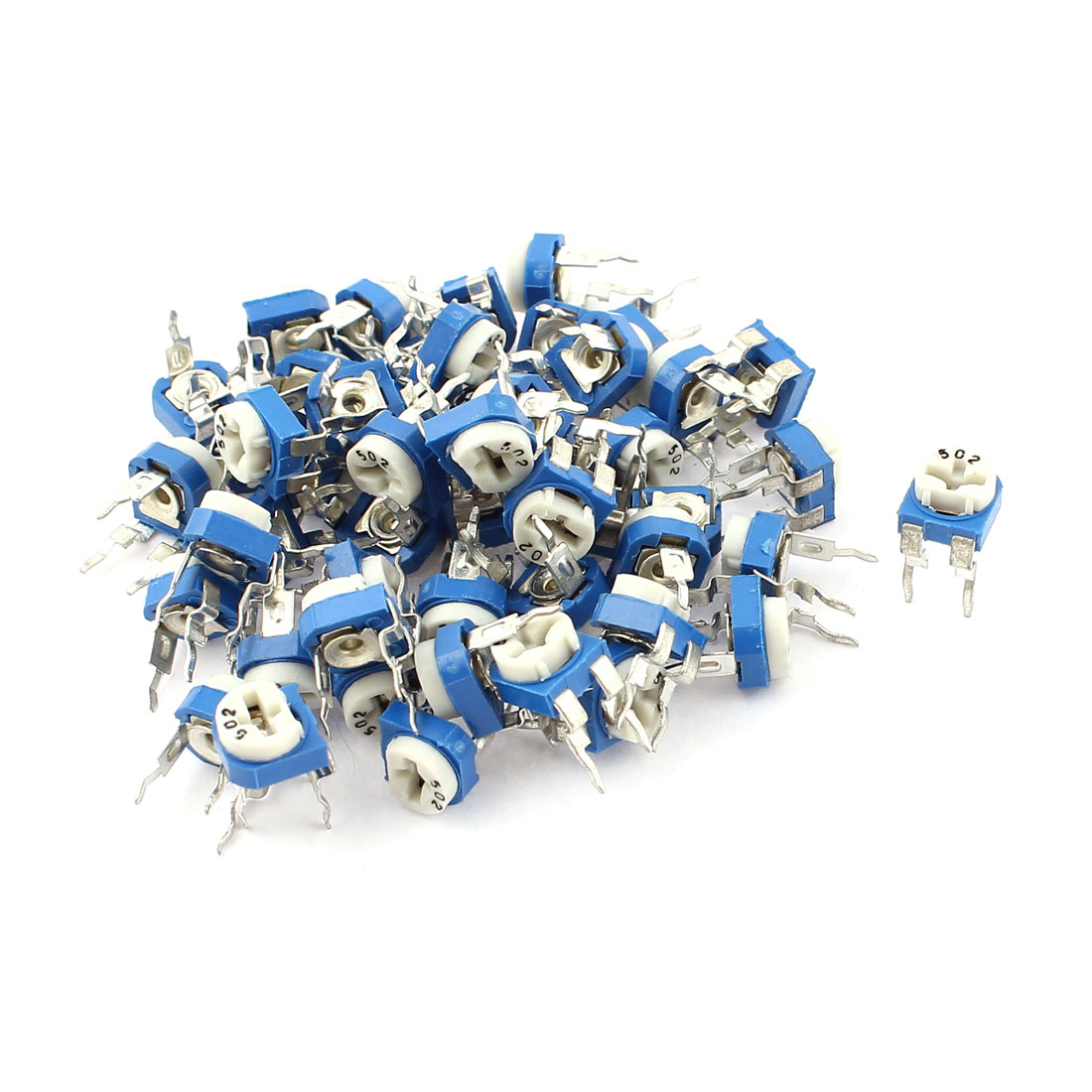 50Pcs 5K ohm Vertical PCB Preset Variable Resistor Trimmer Potentiometer Blue