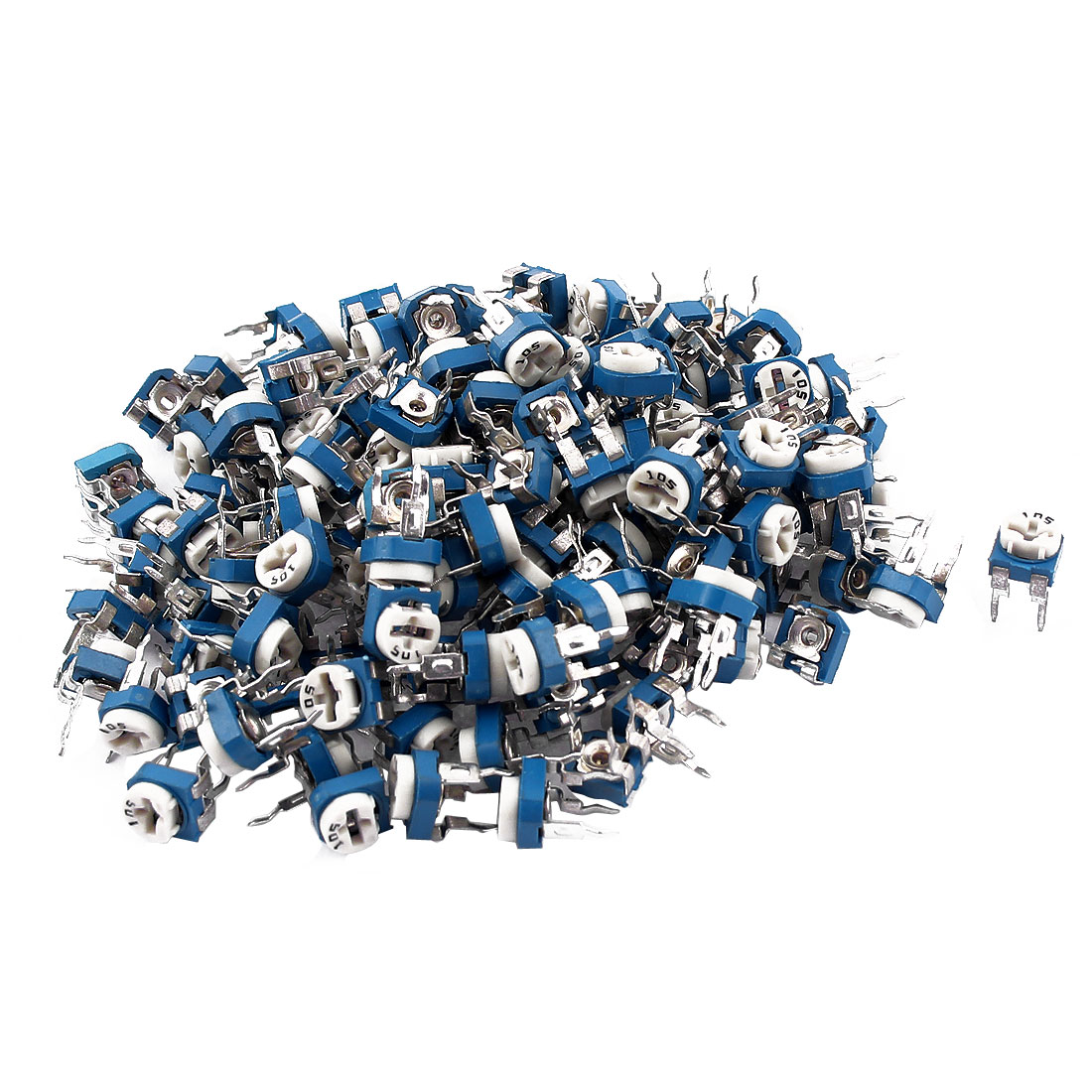 100Pcs 5K ohm Vertical PCB Preset Variable Resistor Trimmer Potentiometer Blue