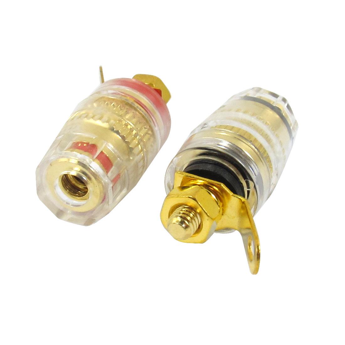2Pcs Banana Socket Female Nut Knurl Screw Jack Connector Gold Tone