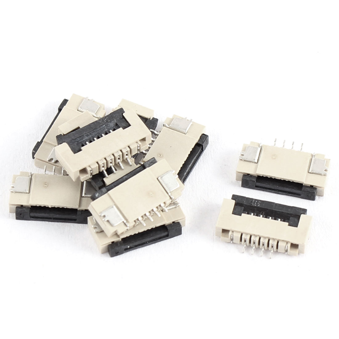 10Pcs Clamshell Type Bottom Port 4Pin 1.0mm Pitch FFC FPC Sockets Connector