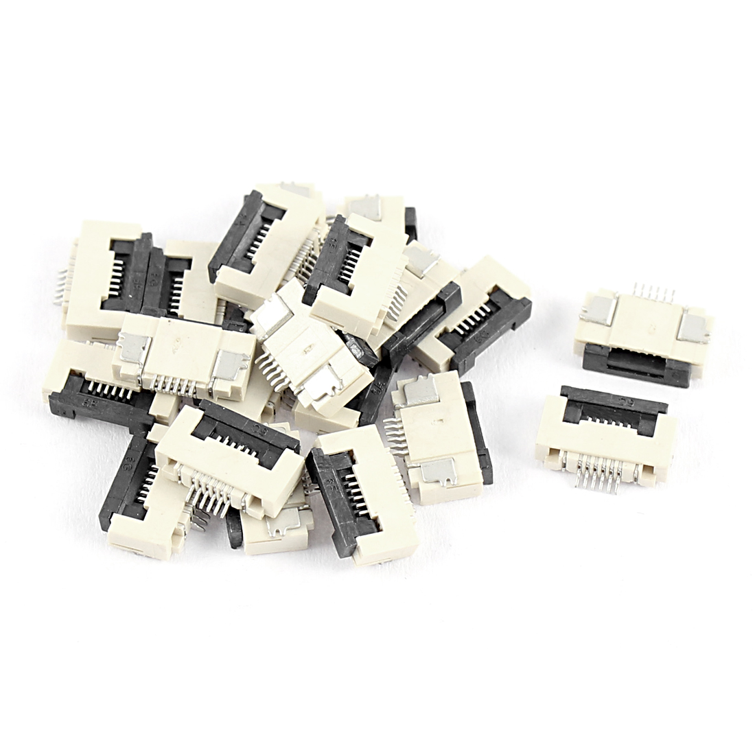 20Pcs Clamshell Type Bottom Port 6Pin 0.5mm Pitch FFC FPC Sockets Connector