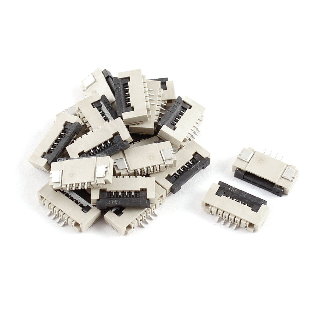 20Pcs Clamshell Type Bottom Port 4Pin 1.0mm Pitch FFC FPC Sockets Connector
