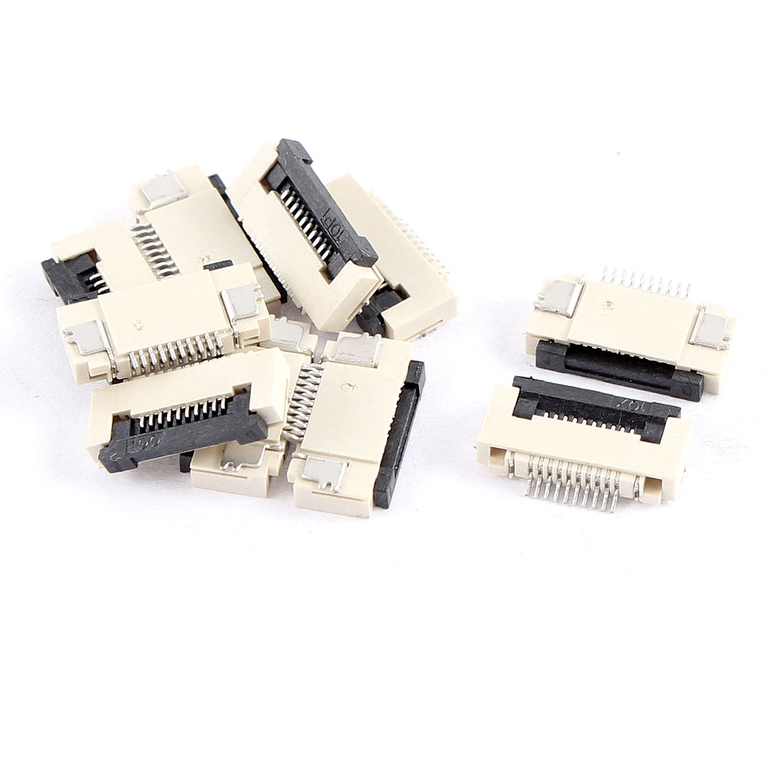 10Pcs Clamshell Type Bottom Port 10Pin 0.5mm Pitch FFC FPC Sockets Connector