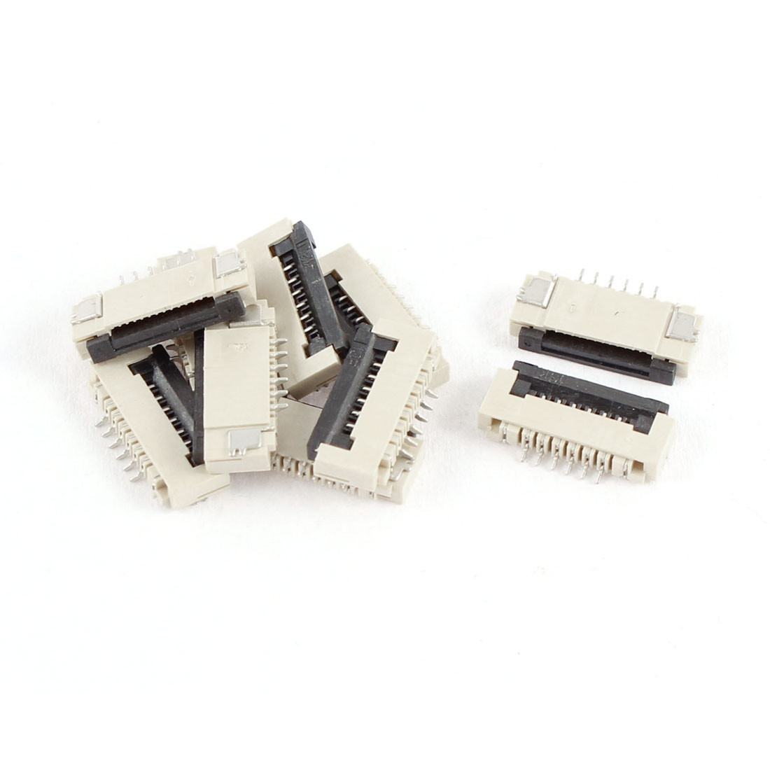 10Pcs Clamshell Type Bottom Port 6Pin 1.0mm Pitch FFC FPC Sockets Connector