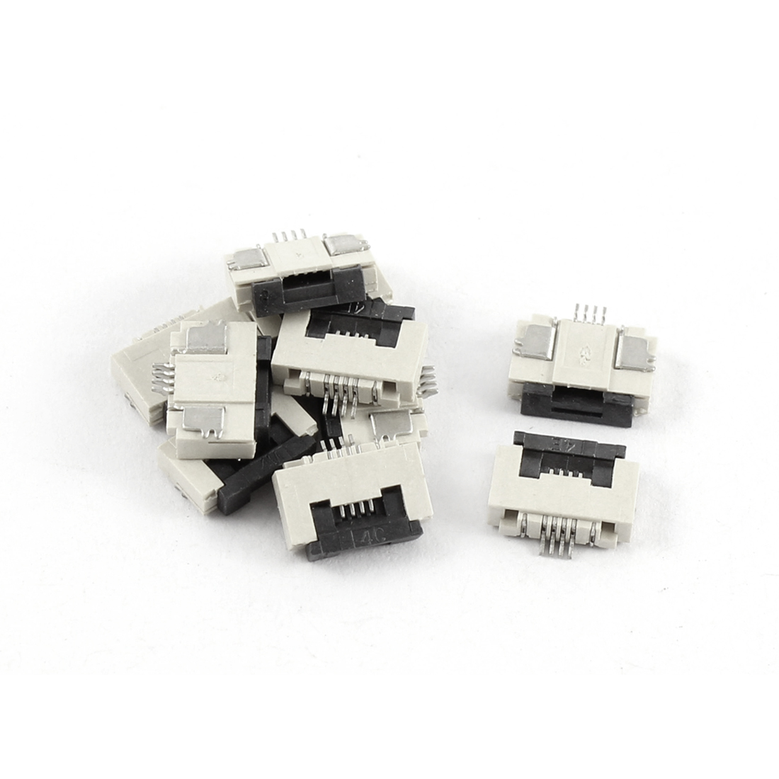 10Pcs Clamshell Type Bottom Port 4Pin 0.5mm Pitch FFC FPC Sockets Connector