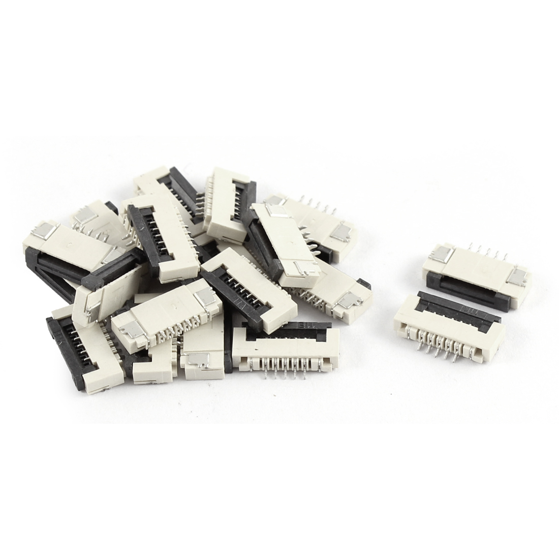 20Pcs Clamshell Type Bottom Port 5Pin 1.0mm Pitch FFC FPC Sockets Connector
