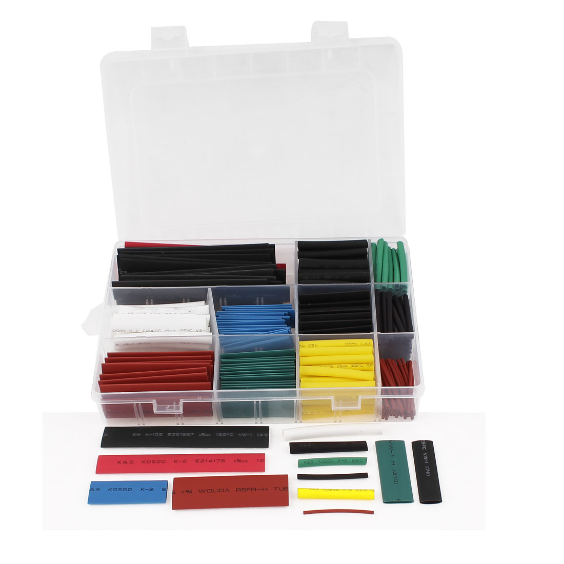 300 Pcs Eight Colors Assorted Sizes Heat Shrinkable Tube Sleeving Wrap Wire Kit
