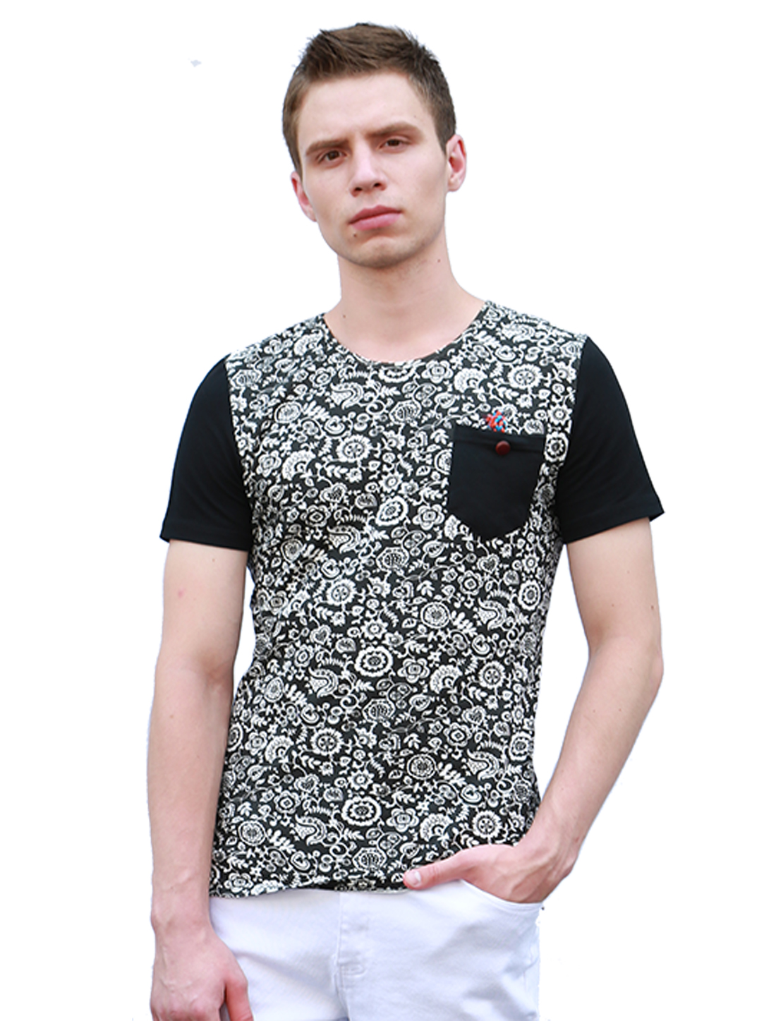 Men Floral Prints Chest Pocket Crew Neck Tee Shirt Black S