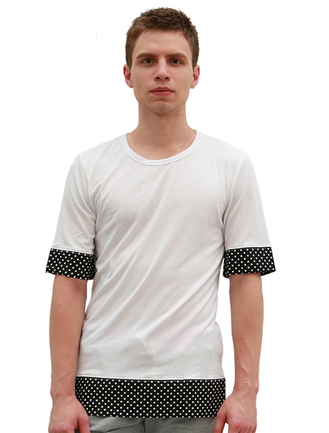 Men Short Sleeves Dotted Paneled Trim Tee White S