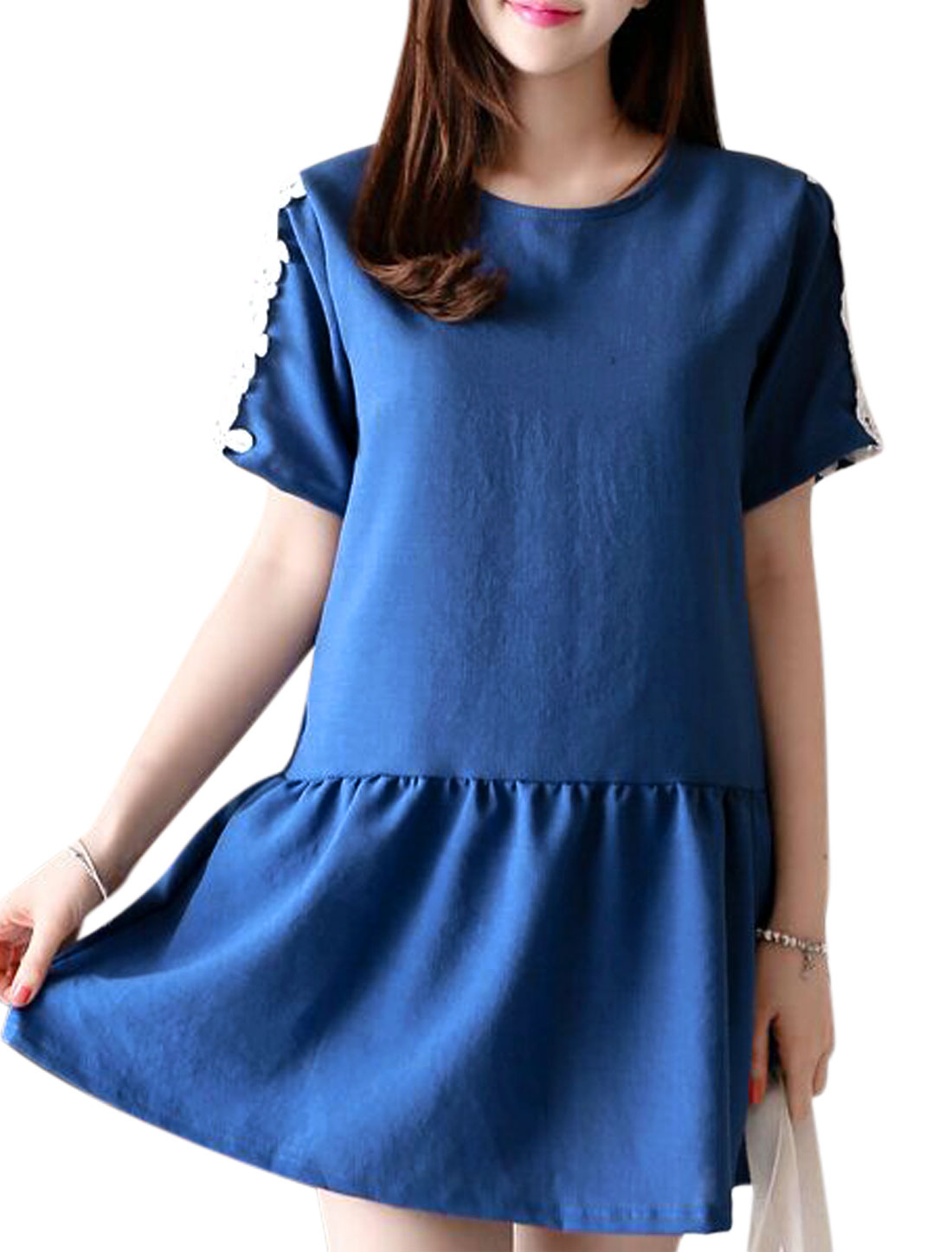 Women Short Sleeve Round Neck Crochet Casual Dresses Royal Blue S