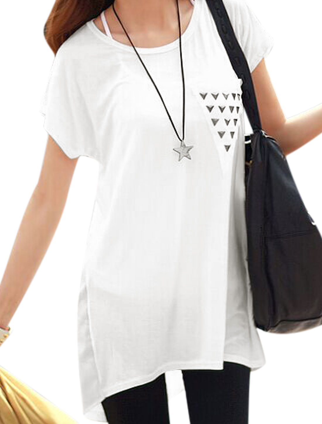 Women Short Dolman Sleeves Rivet Detail Tunic Shirts White XS