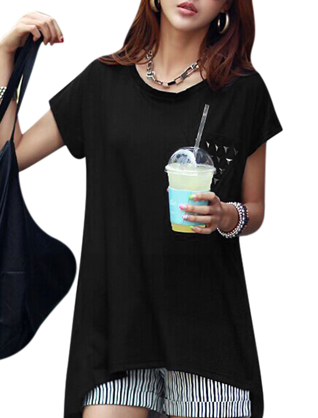 Ladies Stud Short Dolman Sleeves Low High Hem Tunic Shirts Black XS