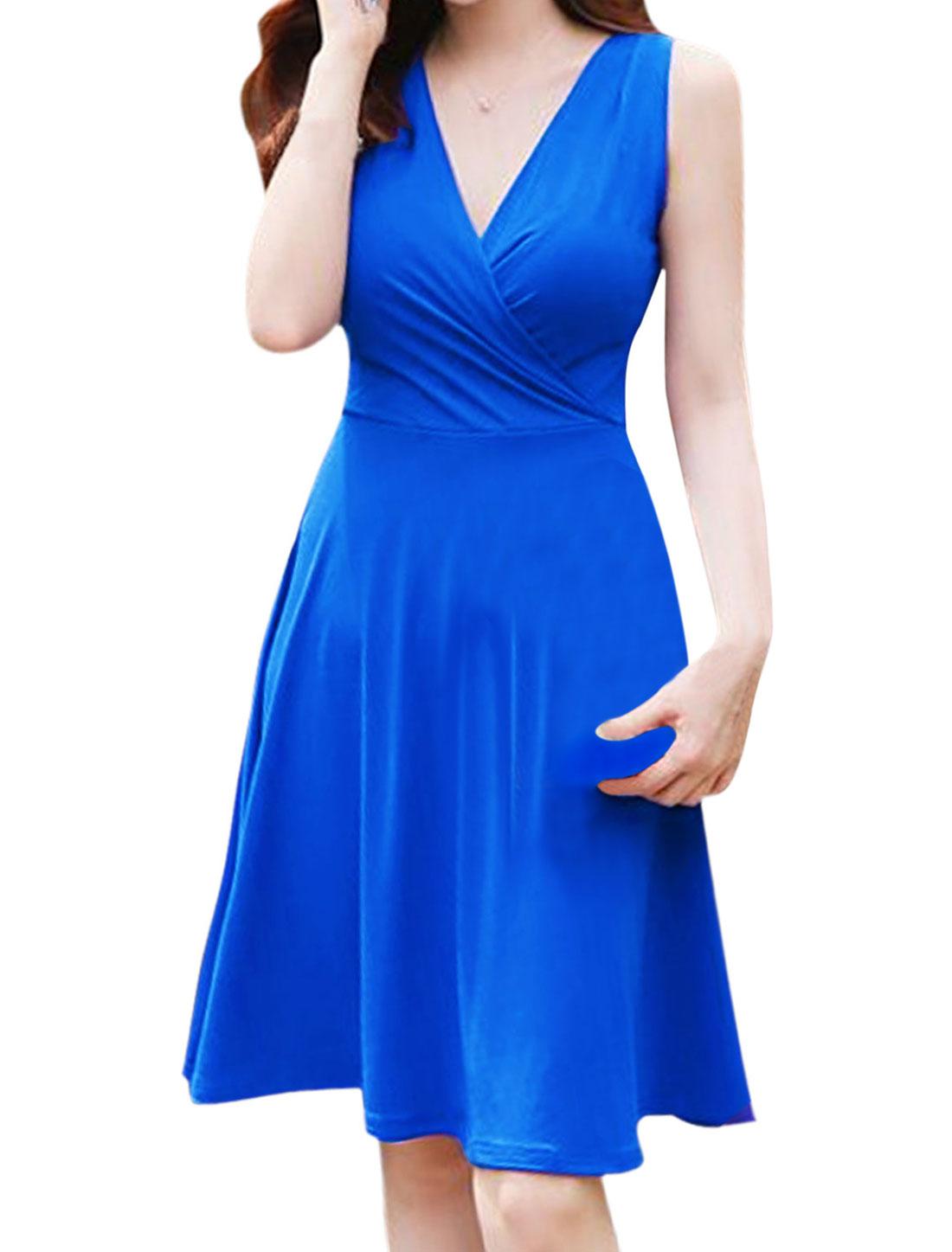 Ladies Sleeveless Crossover V Neck Unlined Dress Royal Blue M