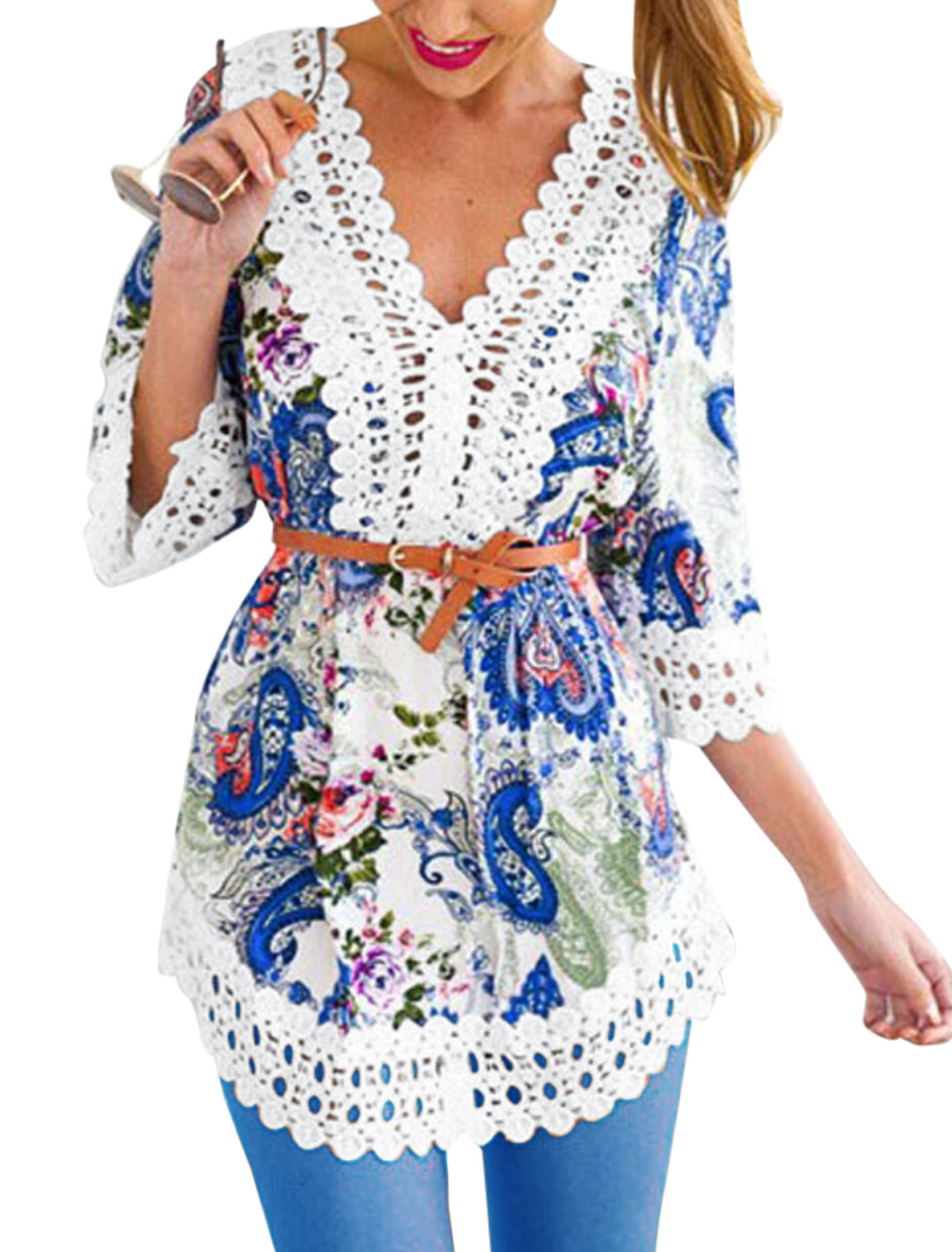 Woman Floral Prints Hollow Out Crochet Design Belted Tunic Top Blue White XS
