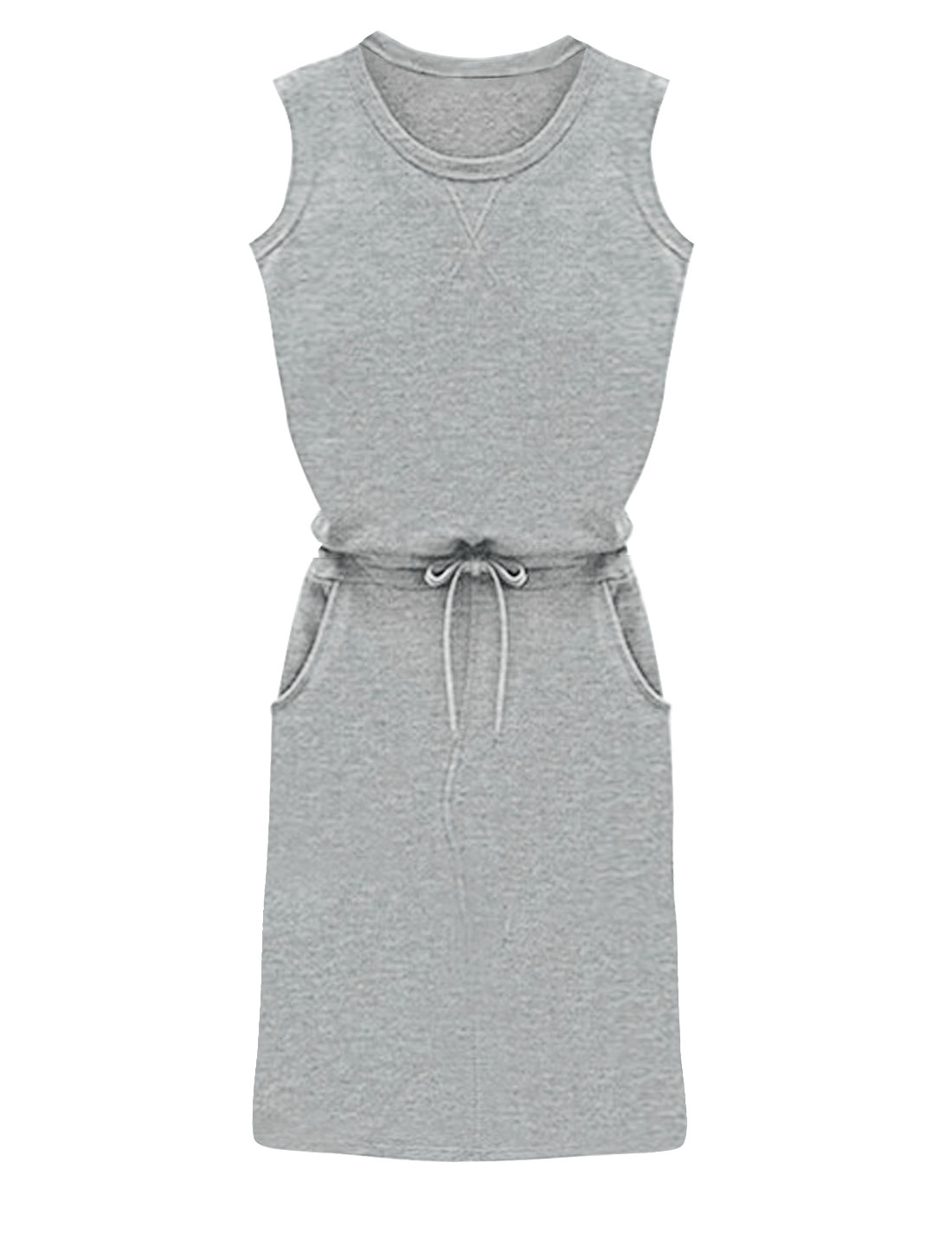 Ladies Drawstring Waist Front Pockets Unlined Casual Dress Light Gray S