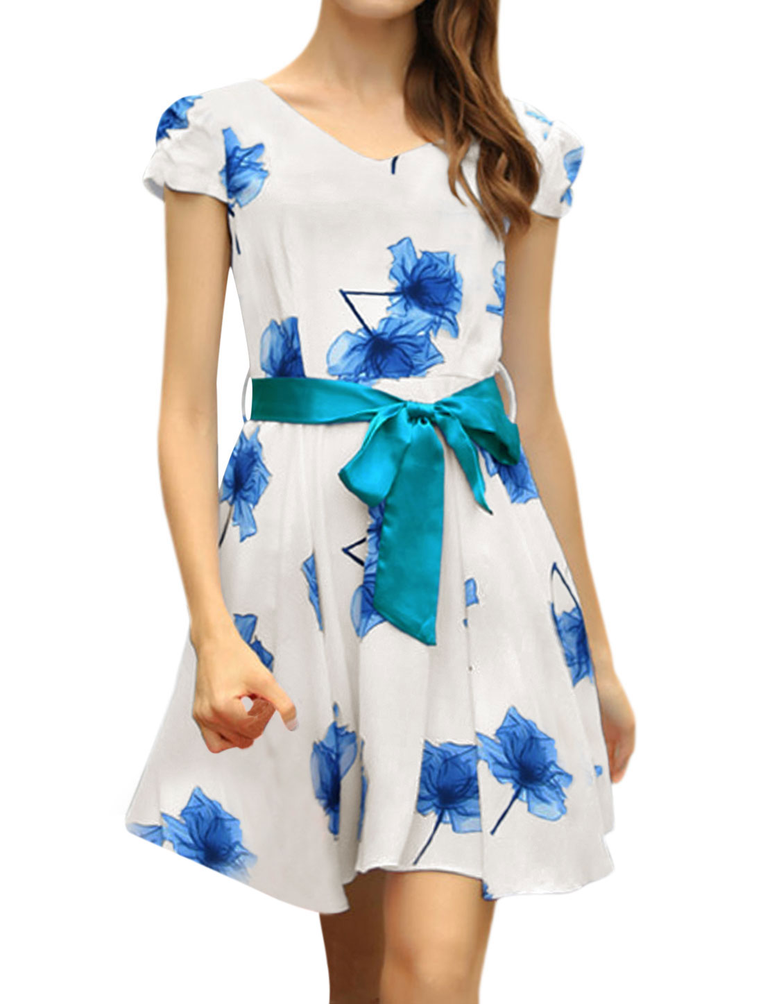Ladies Cap Sleeve V Neck Floral Print Unlined Casual Dress White Blue M