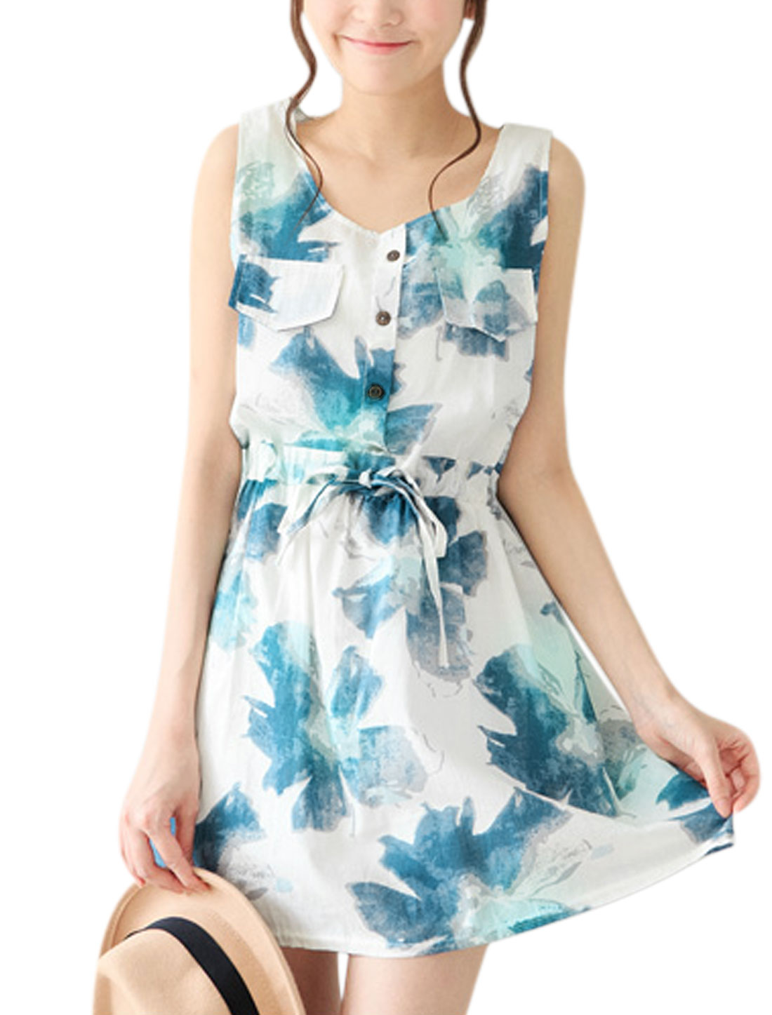 Women Sleeveless Buttons Decor Floral Prints A Line Dress Blue White S
