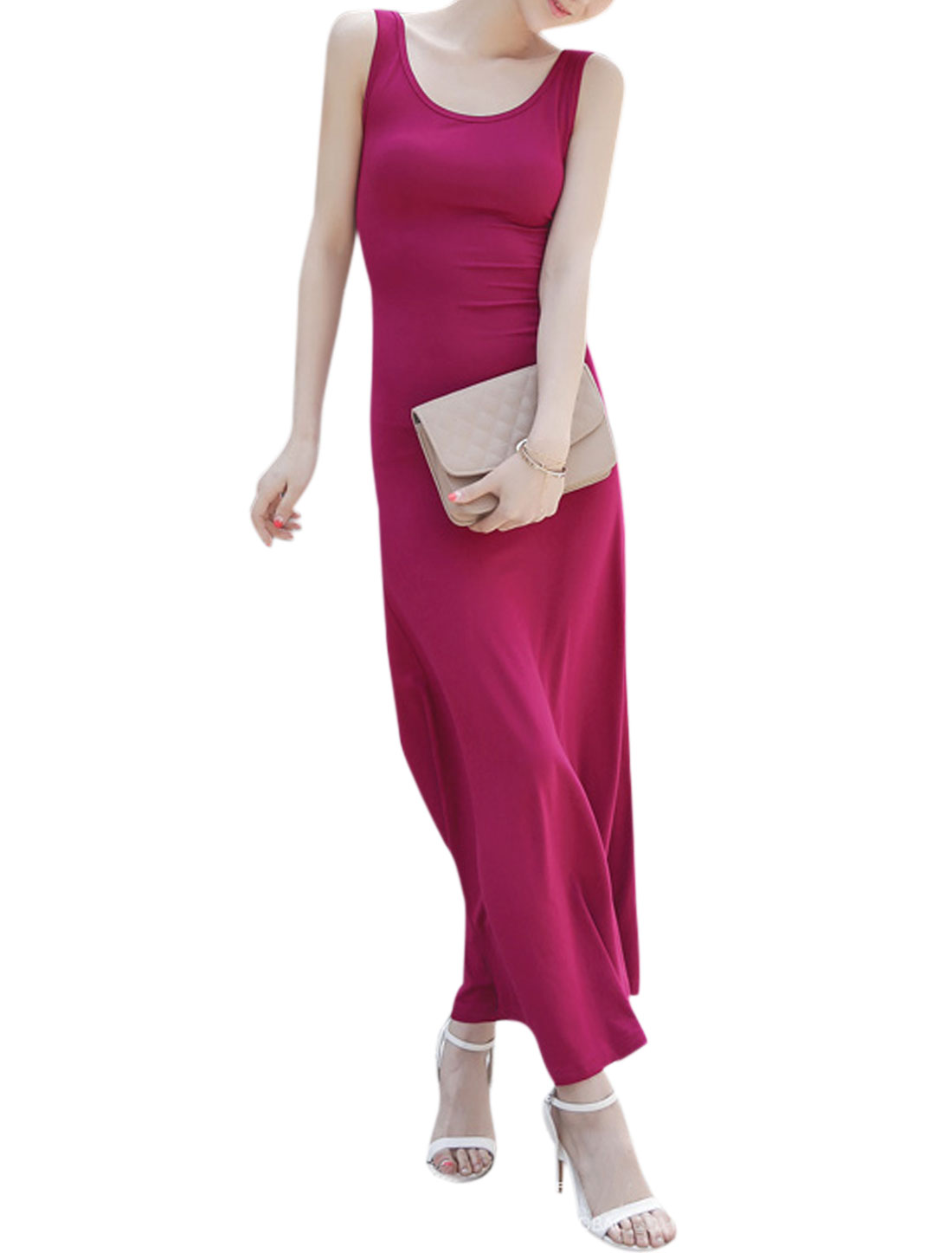 Woman Scoop Neck Backless Self Tie Bowknot Back Sleeveless Maxi Dress Fuchsia S