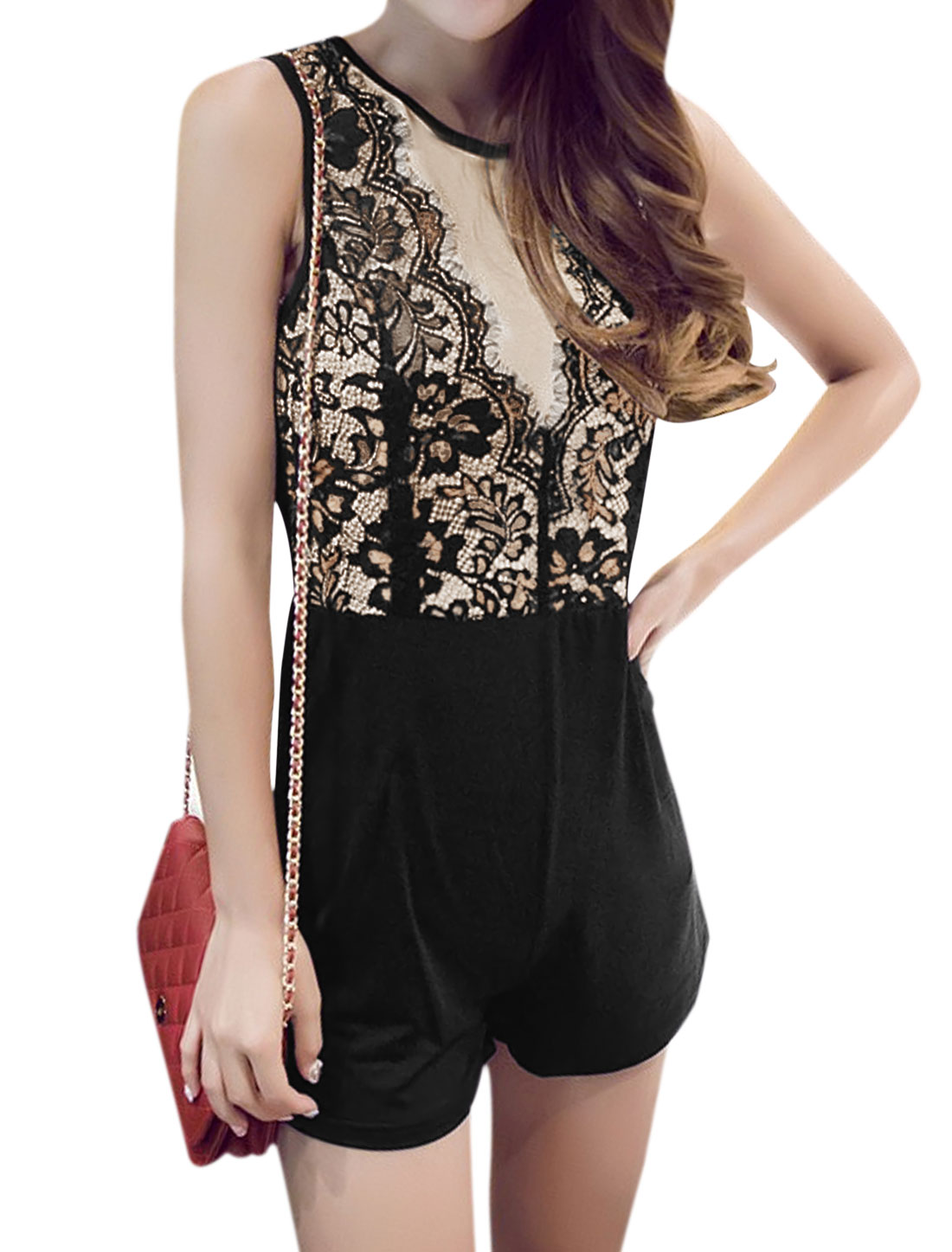 Woman Floral Design Lace Panel Cut Out Back Sleeveless Romper Black Beige S