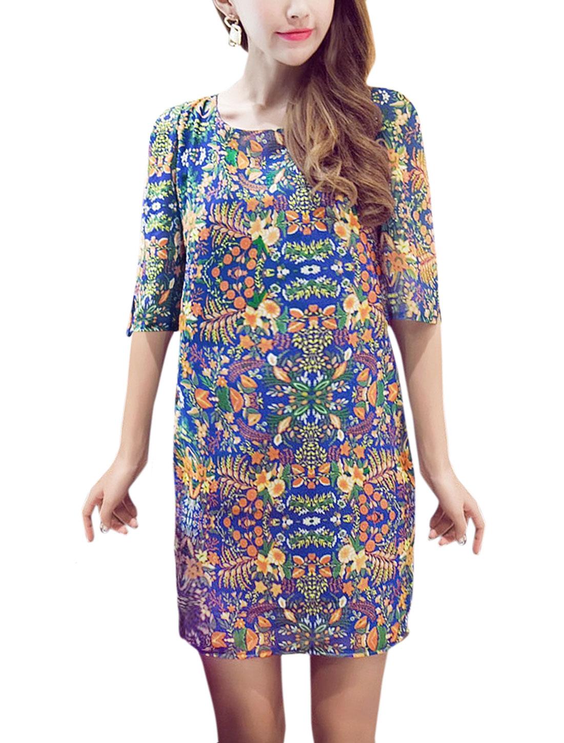 Women Elbow Sleeves Split Cuffs Floral Prints Chiffon Sheath Dress Blue L