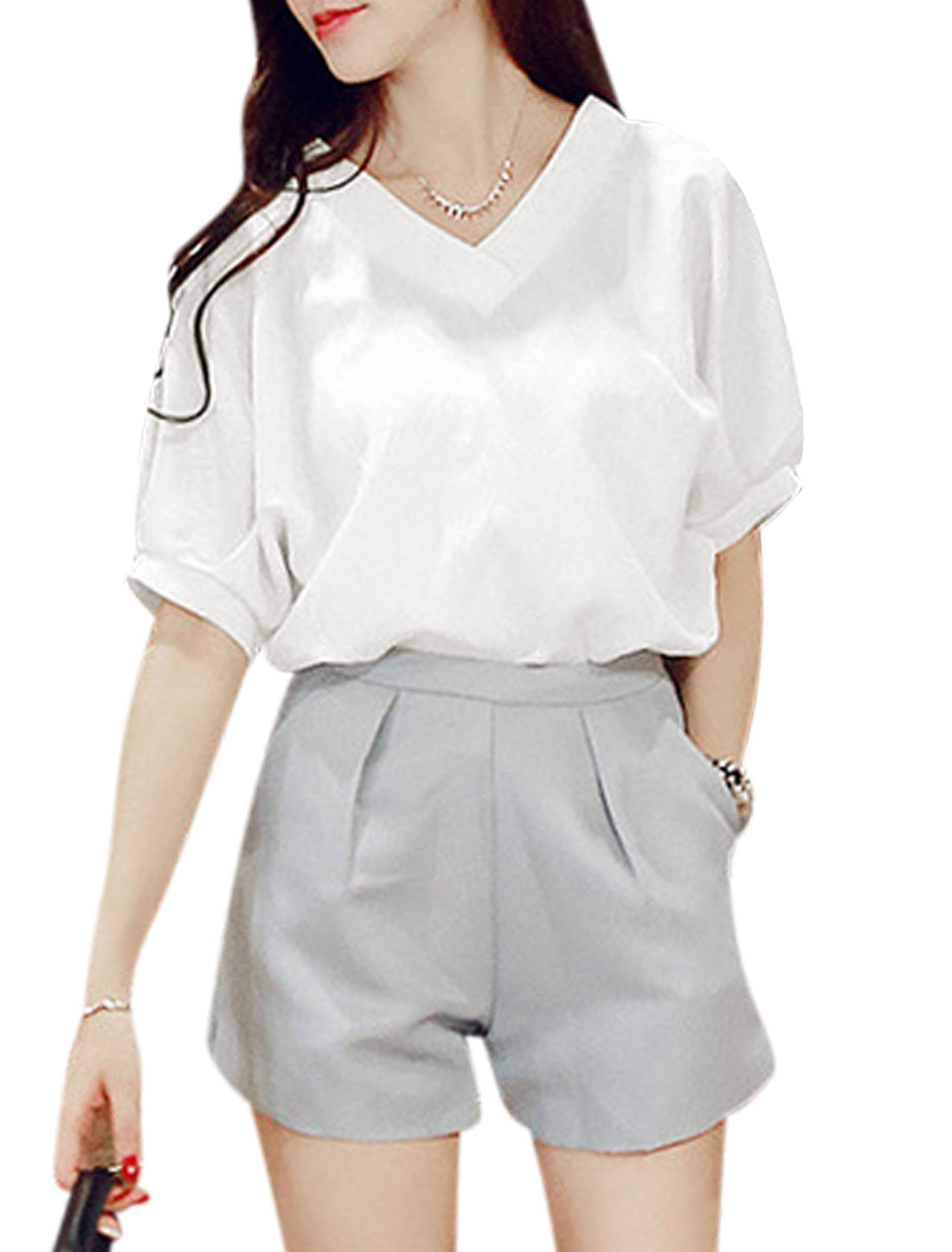 Woman V Neck Half Batwing Sleeves Loose Fit Casual Top White S