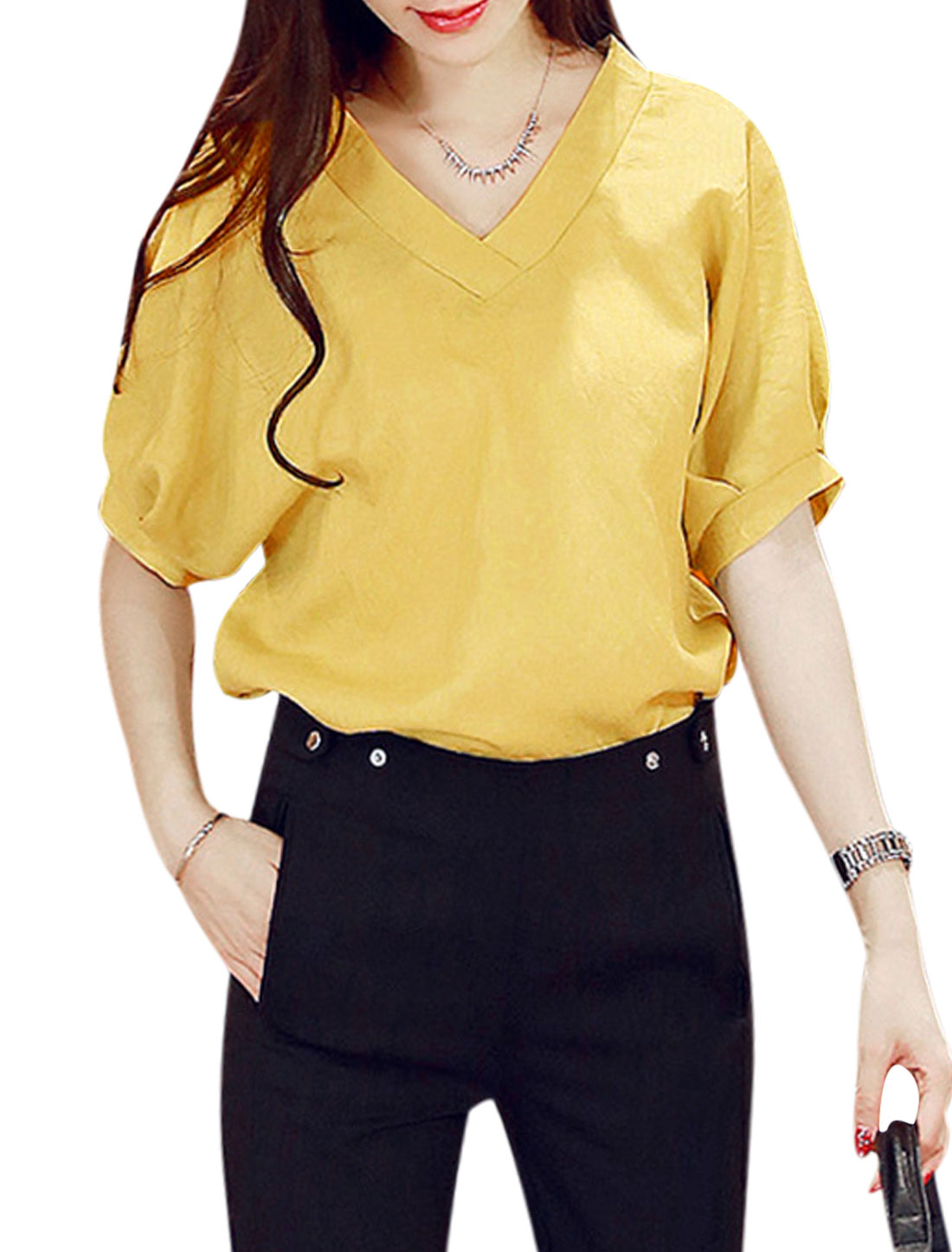 Woman Half Batwing Sleeves Loose Fit Slipover Leisure Top Curry S