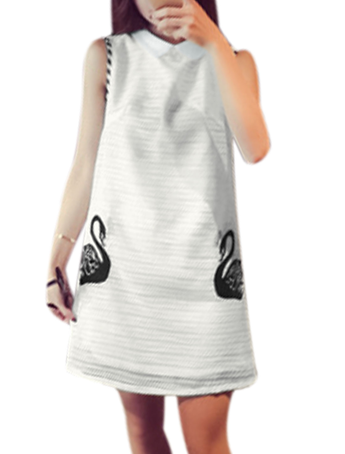 Women Turn Down Collar Goose Embroidery Sleeveless A Line Dress White XS