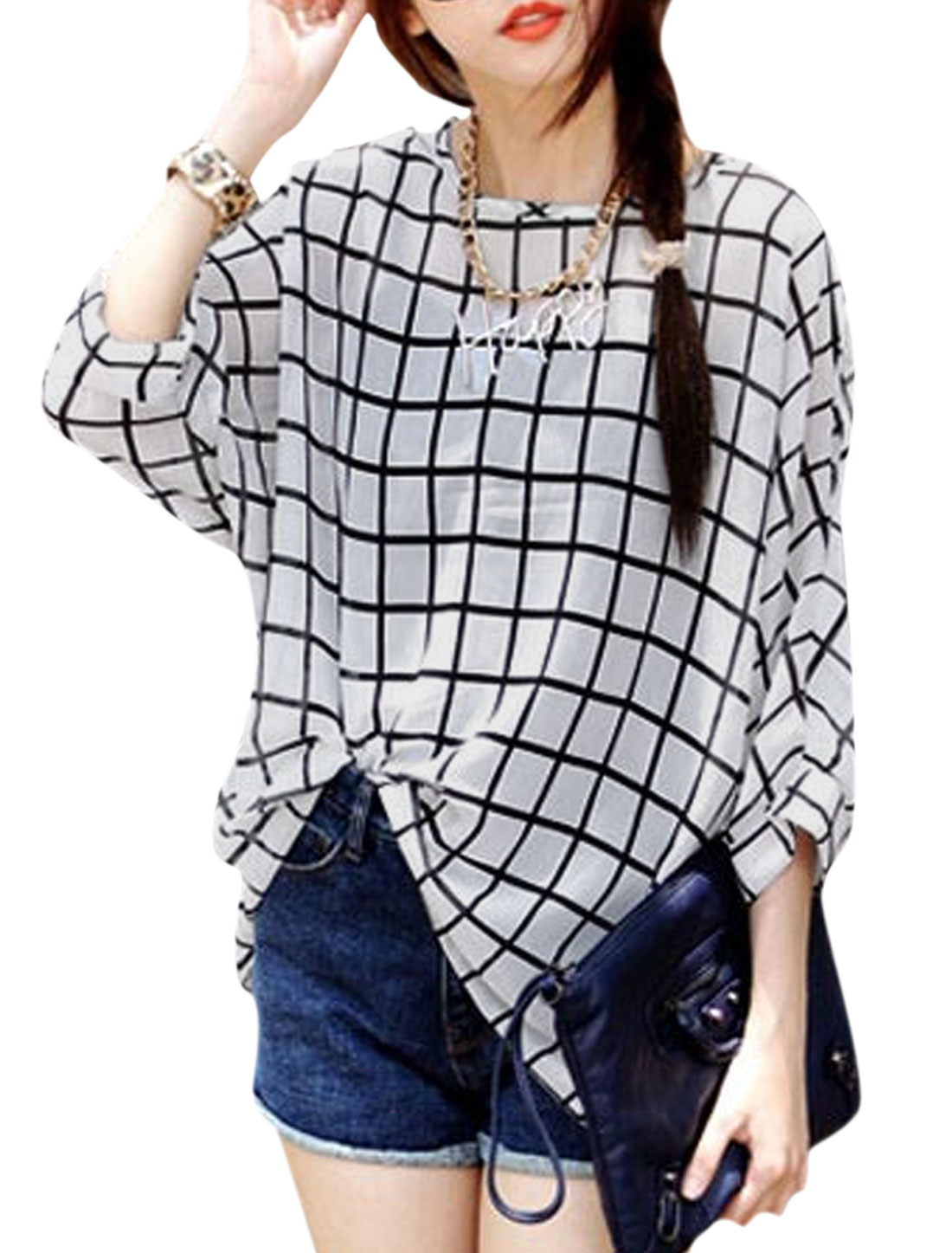 Woman Checks Dropped Shoulder Batwing Sleeves Chiffon Tunic Top White M